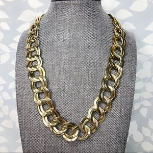 Vintage Chunky Double Chain Link Gold Necklace